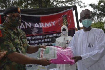 NIGERIAN ARMY DONATES PERSONAL PROTECTIVE EQUIPMENT TO FCT MINISTER